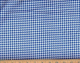 Happy Houndstooth Royal Blue Cotton Quilting Sewing Fabric, BTY #419