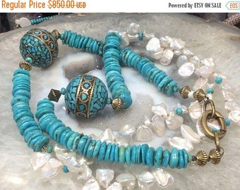 50% Mega Sale Turquoise & Natural Keishi Pearl Necklace Stunning!!!!!!