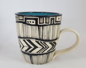 AVAILABLE NOW!! Turquoise mug, handmade mug, illustrated mug, ceramic mug