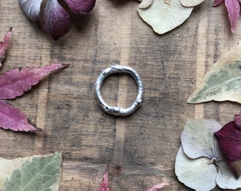 Sterling silver heavy twig ring , wide twig ring, stacking ring