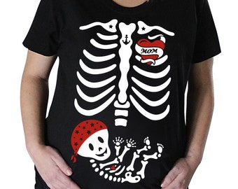Skelly Baby Pirate/Tattoo Maternity Skeleton T-shirt