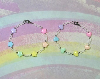 Fairy Kei Bracelet, Sweet Lolita Bracelet, Decora Bracelet, Rainbow Bracelet, Star Bracelet, Heart Bracelet, Magical Girl Bracelet
