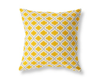 Mustard Yellow Grey Cushion Cover, Throw Pillow, Cotton Twill, 40cm (16'') x 40cm (16''), Moroccan Ikat, Concealed Zip
