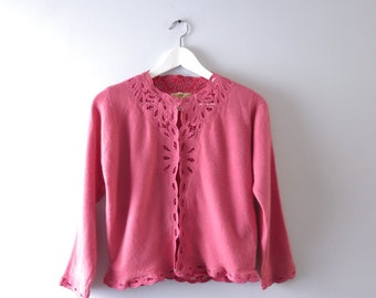 Raspberry Cream Cardigan | 1950s Raspberry Pink Cashmere Cardigan Sweater L | 50s Cashmere
