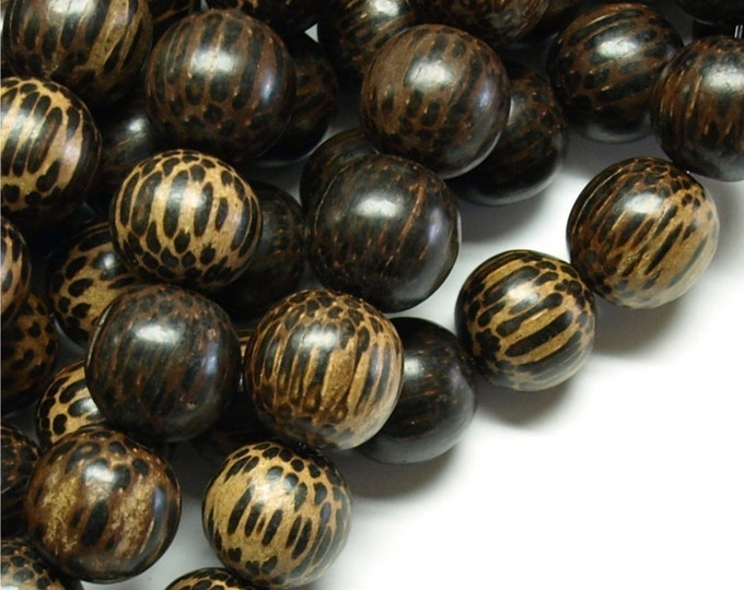 Wood Bead, Round 15mm, Old Palm - 8 Inch Strand (WDRD-15PM)