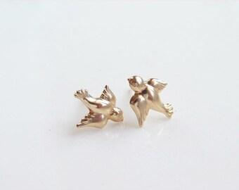 Teeny Tiny Gold Bird Stud Earrings. Little Swallow Earrings. Simple Modern Jewelry by PetitBlue