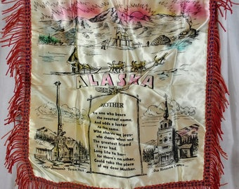 Souvenir Alaska Mother Poem Vintage Pillow Cover - Satin with Fringe