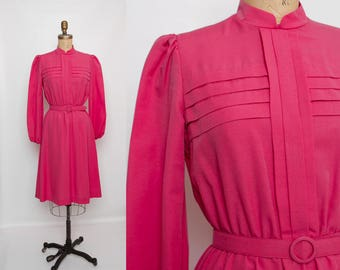 vintage 80s pink pintuck dress with belt