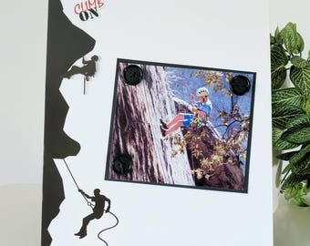 Climb On - Magnetic Picture Frame Handmade Gift Present Home Decor by Frame A Memory Size 9 x 11 Holds 5 x 7 Photo - Outdoor Sports Family
