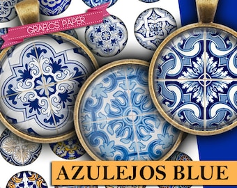 "Printable Azulejos Blue Images, Digital Collage Sheet  1.5"", 1.25"", 30mm, 1 inch Circles, colours Images, Instant Download - td411"