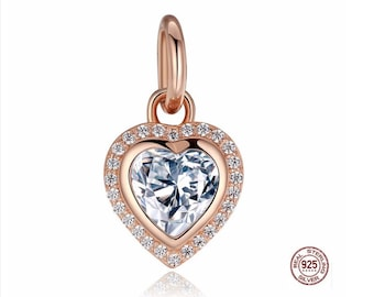 Rose GOLD HEART Dangle Charm Clear Cz, 100% Real 925 Sterling Silver, Fits Pandora, Famous European Snake Chain Bracelet, DiY Jewelry.