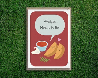 Greeting Cards | Wedges Meant to Be Card, Anniversary, Romantic, Cute, Silly, Quirky, Pun, Boyfriend, Girlfriend, Funny Illustration