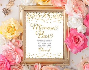 Printable Wedding sign Mimosa Bar 8x10 Gold Glitter Confetti Bar Sign DIY Wedding champagne sign Printable Digital INSTANT DOWNLOAD 300dpi