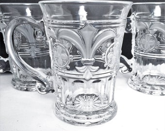 Drinking Glasses Fleur de Lis, Mugs Fleur De Lis, Beer mugs Fleur de Lis