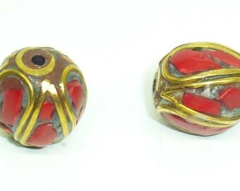 Ppra16 ethnic Nepal Tibetan red coral brass bead