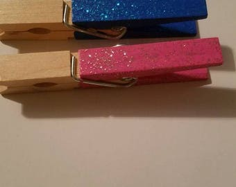 50 pcs Gender Reveal Clothes pins GLITTER (25 blue/25 pink) Baby Shower