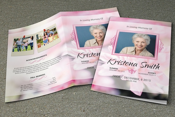 funeral program template memorial program template order of
