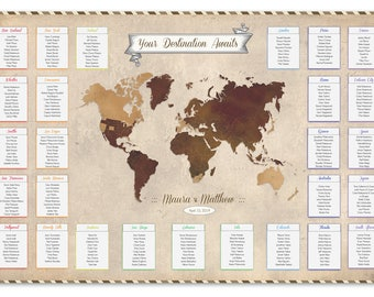 Wedding seating chart personalized table seating plan travel wedding seating chart old world style map seating plan wedding tables wedding decor wedding map publicscrutiny Image collections