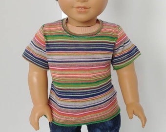 "18 inch boy doll clothing. Fits like American boy clothing. 18"" doll clothes .Short sleeve top"