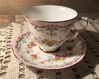 Queen Anne Patt No 8360 Tea Cup and Saucer Pink and White