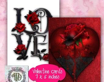Gothic Valentines Day Card Designs Set 1
