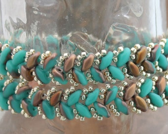 Copper and Turquoise Handmade Herringbone Double Wrap Bracelet
