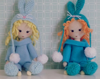 Felt Doll Pattern PDF - Bunny felt miniature hand sewn and crochet Photo tutorial  - Instant DOWNLOAD