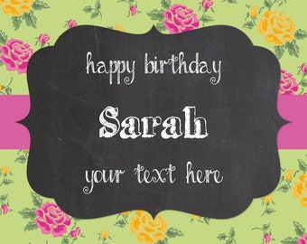 Personalised Champagne/Prosecco Label - green floral chalkboard effect - birthdays or any occasion