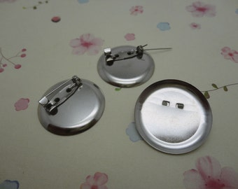 50pcs silver gray color metal brooch pin back with 20mm glue pad , HA150
