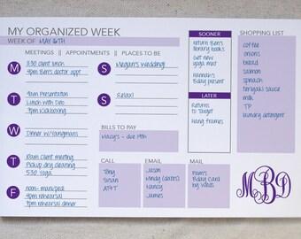 Weekly Organizer Notepad // To-Do List // Monogrammed Weekly Planner // Desk Pad // Monogrammed To-Do // Agenda Notepad // Weekly Calendar
