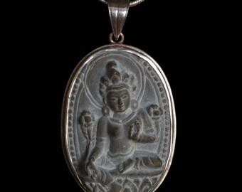 Sandstone Silver Green Tara Pendant