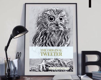 Funny owl - the orginal tweeter - gift for twitter fans. Owl Print. Home Decor. Birthday/Housewarming Gift