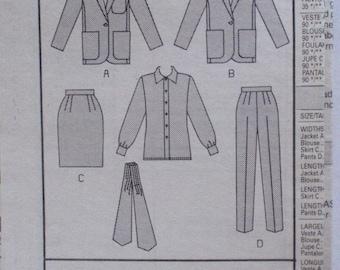 Women's Wardrobe Sewing Pattern - Jacket, Shirt, Skirt, Pants and Ascot - Butterick 6352 - Sizes 18-20-22, Bust 40 - 44, Uncut - NO ENVELOPE