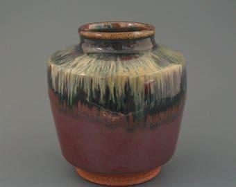 Vase, wood-fired stoneware w/ tenmoku and nuka glazes
