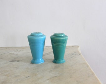 Teal and Turquoise Art Deco Skyscraper Homer Laughlin Harlequin Salt and Pepper Shakers Circa 1930s