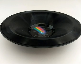 """Elton John Smooth Record Bowl Hand Made from Upcycled Vinyl Record """"Live in New York"""""""