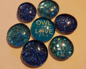 Set of 7 strong glass glitter magnets, owl always love you, blue glitter magnets, refrigerator magnets, kitchen decor, sparkle, pretty