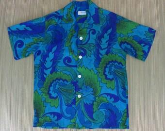 Vintage Hawaiian Shirt 60s ANDRADE Seaweed Psychedelic Mod Surfer Aloha Shirt Cotton Barkcloth Mens - M - Oahu Lew's Shirt Shack