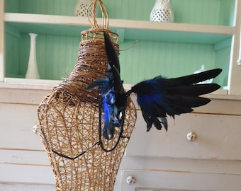 Feather wings Faerie Pixie Blue and Black Made to Order