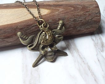 Vintage Victorian Revival Molded Brass Skeleton Pirates Pendant Necklace 0532
