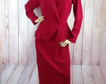 Lauren Michaels Red Peplum Dress Late 40s Look UK 16