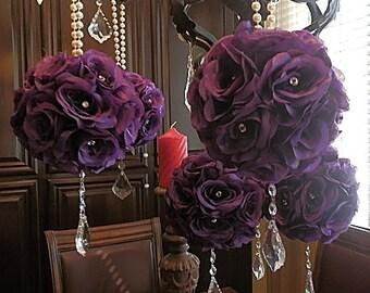 FLOWER GIRL POMANDERS- , wedding flower balls, kissing balls, flower pomanders for weddings