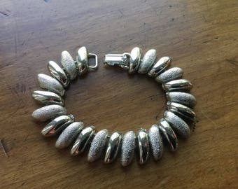 Vintage Chunky Silver Textured Book Chain Link Bracelet