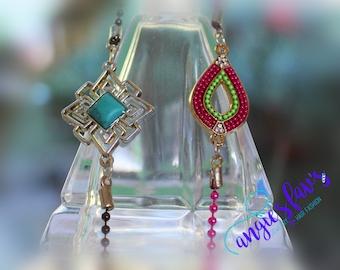 Ball Chain Bracelets - Teardrop, Silver Turquoise