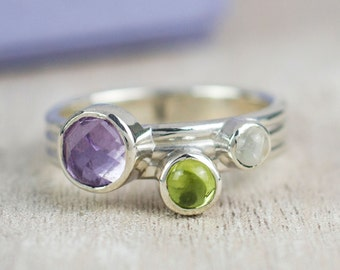 Amethyst Ring | Mothers Ring | Moonstone Ring | Stacking Ring | Peridot Ring | June Birthstone | August Birthstone | February Birthstone |