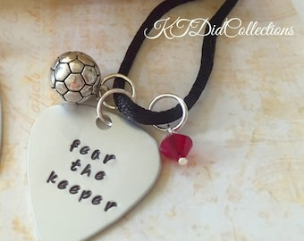 Soccer Goalie Necklace, Soccer Jewelry, Stamped Jewelry, Goalie Gift, Fear the Keeper