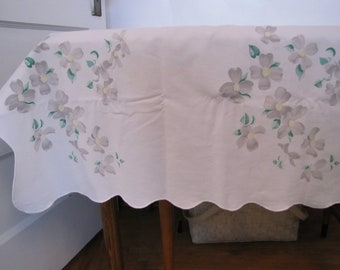 Vintage Tablecloth with  flowers gray yellow and green on white with scalloped edge