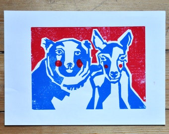 red and blue woodcut of a deer and a bear (A5)