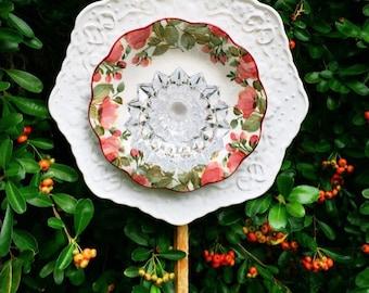 Rosalie • Glass Garden Flower • Yard Art • Vintage Floral Repurposed China and Glass Garden Flower • China Garden Plate Flowe