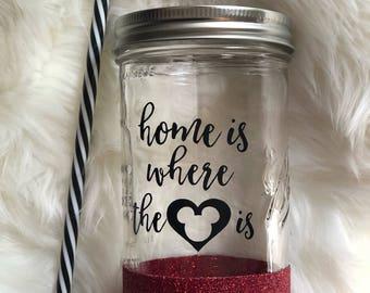 "Disney Glitter Tumbler ""Home Is Where The Heart Is"""